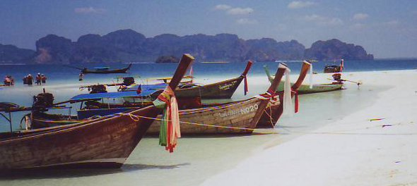 Longtail boats on Poda Island, Krabi