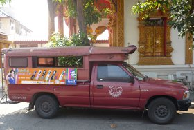 red songthaew in Chiang Mai