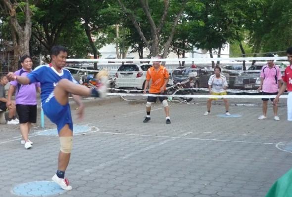 group of men playing takraw in Bangkok