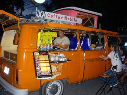 Coffee vendor in converted VW camper van, Sunday Walking Street Market, Chiang Mai