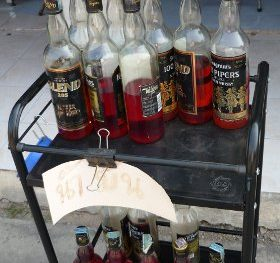 gasoline in whiskey bottles in Thailand