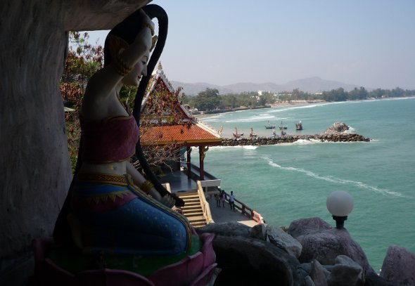 A water fountain depicting Thailand's Mother Earth, high up on the hill at Khao Tao in Hua hin, Thailand