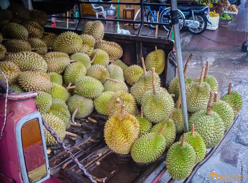 Durians for sale at street market in Thailand