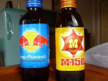 Thailand's Red Bull (Krating Daeng) and M-150 energy drinks