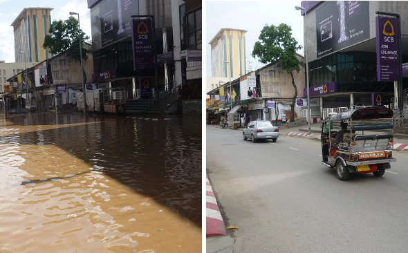 During and after floods at entrance to Chang Klan Road and Night Bazaar area in Chiang Mai