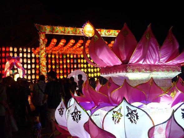 krathong and lantern display at Three Kings Monument, Chiang Mai
