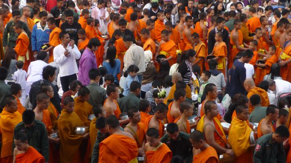 monks line up for alms in Chiang Mai