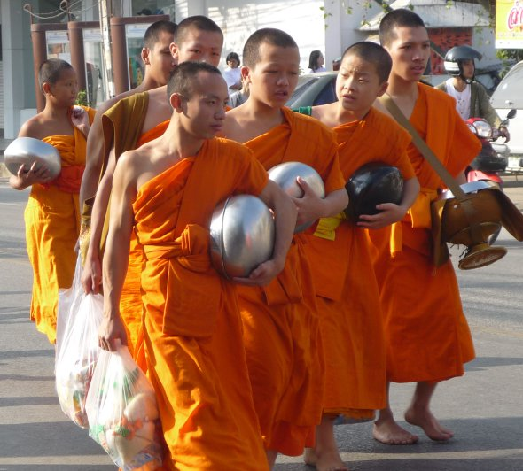young monks on their way back from the alms giving ceremony in Chiang Mai