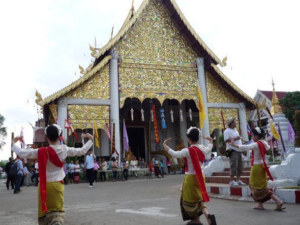 Thai dancers at the Inthakin Festival, Wat Chedi Luang, Chiang Mai
