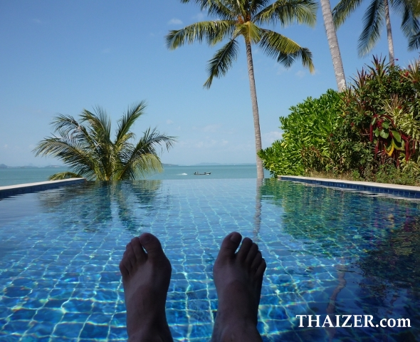 Thaizer's feet in the infinity pool at The Village, Coconut Island, Phuket