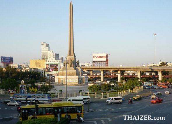 Victory Monument in Bangkok with the Skytrain shown in the background