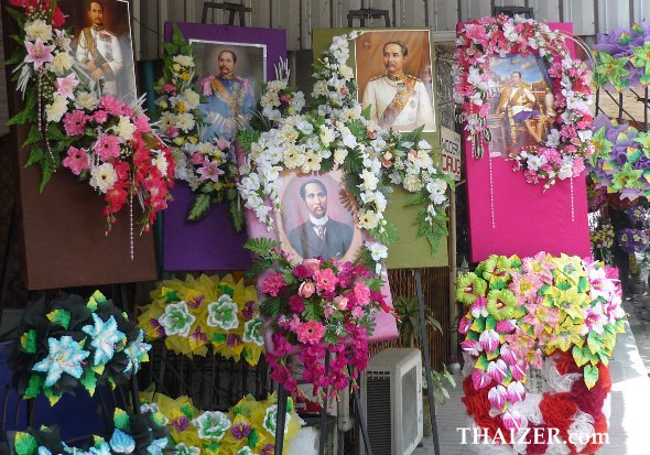 Flowers and royal portraits for Chulalongkorn Day in Thailand