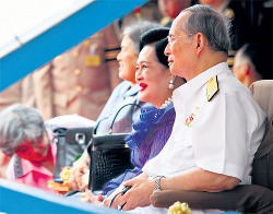 His Majesty the King on board the Royal Thai navy ship Angsana in Bangkok