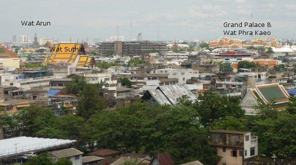 view from Golden Mount looking towards Rattanakosin Island (old Bangkok)