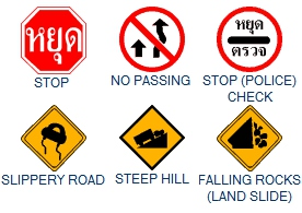 Thailand road signs