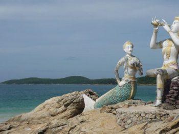 Statue of Aphai Mani and mermaid on Hat Sai Kaew beach, Ko Samet