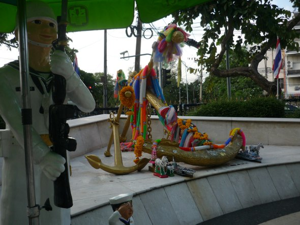 Anchors, garlands and mini-marines at Sadej Tia shrine in Bangkok