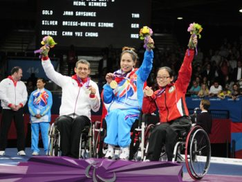 Thailand's Paralympic gold medal winner, Saysunee Jana (pictured middle)