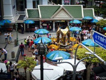 aerial view of the Erawan Shrine at Ratchaprasong Intersection, Bangkok