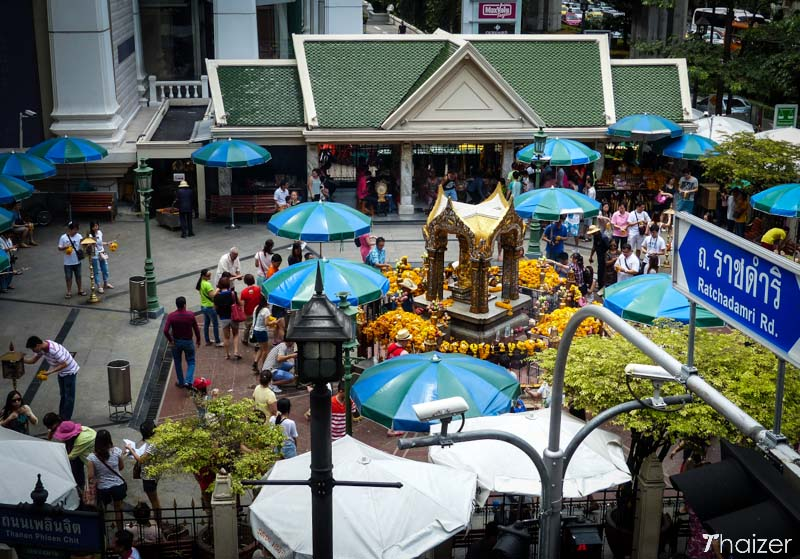 aerial view of the Erawan Shrine at Ratchaprasong Intersection, Bangkok