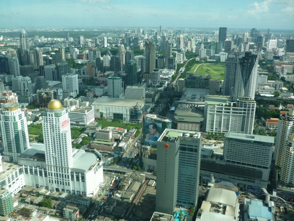View from the window of the Baiyoke Tower, the tallest building in Thailand