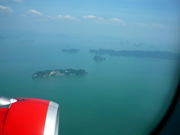 Looking out of the window of an Air Asia flight approaching Phuket
