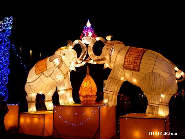 Two giant elephant lanterns for Yi Peng Lantern Festival in Chiang Mai