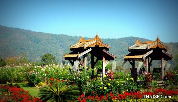 Two traditional salas at Queen Sirikit Botanical Garden, Chiang Mai
