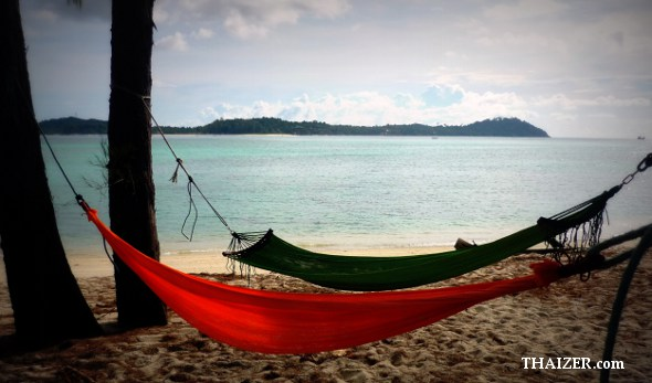 Two hammocks on Ko Adang in southern Thailand