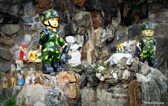 Soldier figurines guard a shrine at the hospital