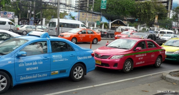 multi-coloured Bangkok taxis
