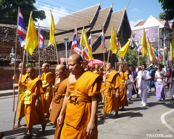 Monks lead this kathina robes offering procession in Chiang Mai