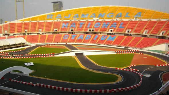The purpose built race track at Rajamangala Stadium in Bangkok for the motor sport Race of Champions