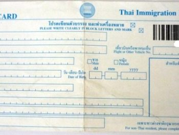 arrival card for Thailand