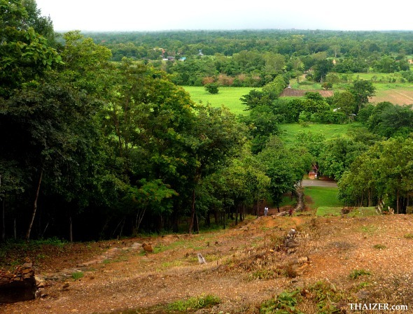 View looking down from top of the hill at Wat Saphan Hin