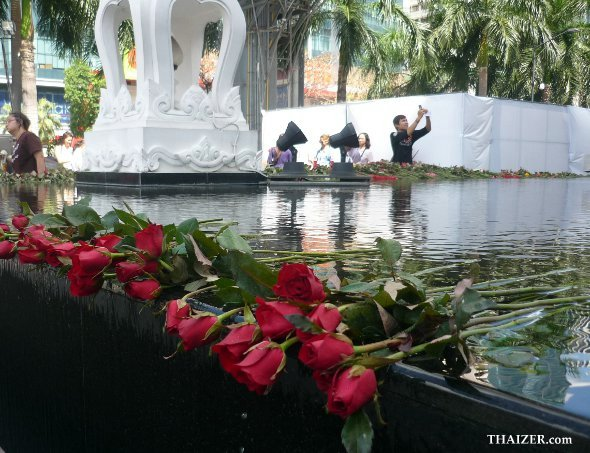 red roses at the Trimurti Shrine in Bangkok