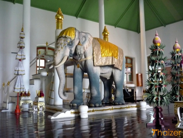 Life-size model of royal white elephant on display