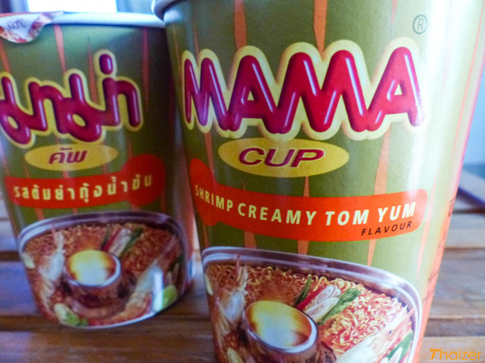 Mama instant Thai noodles in a cup