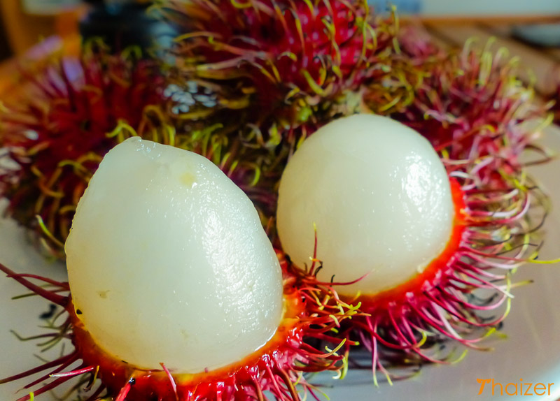 Thai rambutans peeled and ready to eat