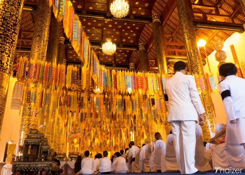 Buddhist service at wat Chedi Luang, Chiang Mai