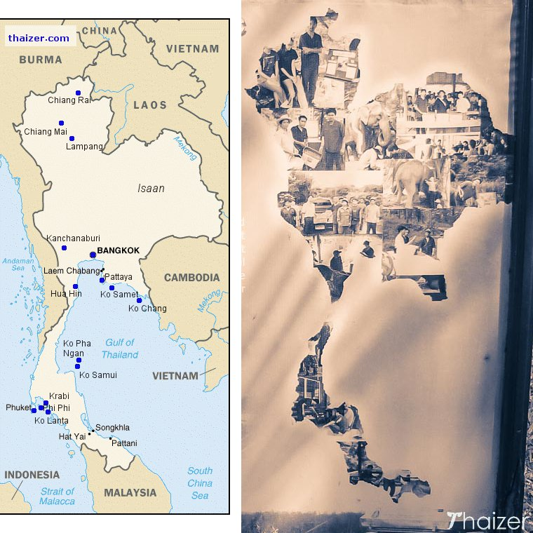 map of Thailand showing elephant outline