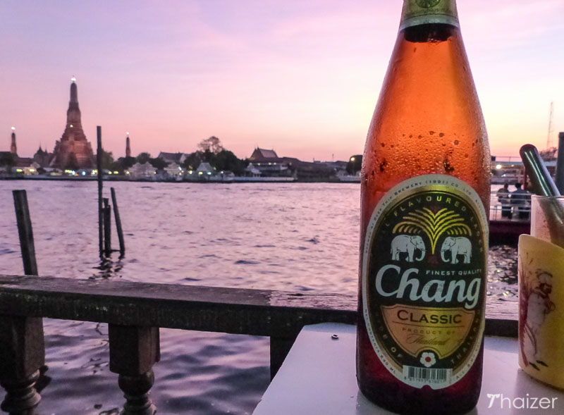 Watching the sunset at Wat Arun in Bangkok with a Chang Beer.