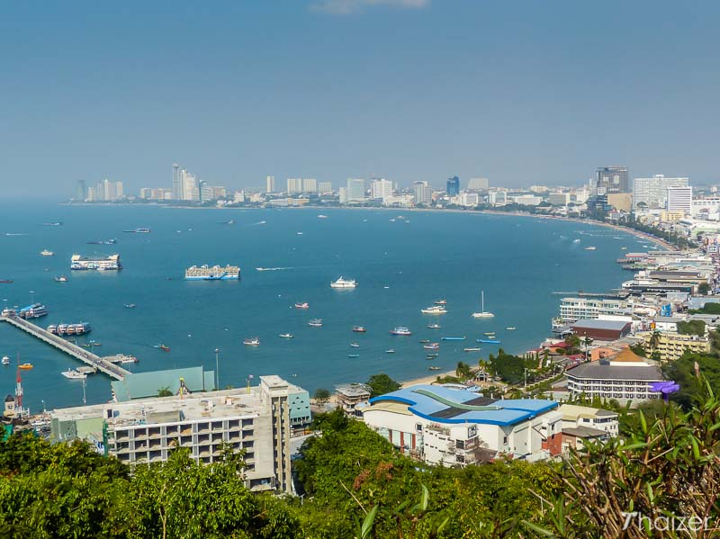 view of Pattaya Bay from the viewpoint on Khao Phra Bat