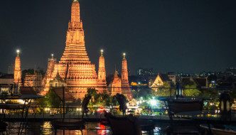 View of Wat Arun from Eagle's Nest rooftop bar, Bangkok