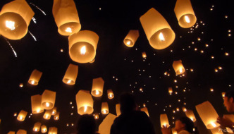 Mae Jo mass sky lantern release in Chiang Mai, Thailand
