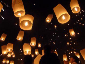 Mae Jo mass sky lantern release in Chiang Mai, Thailand