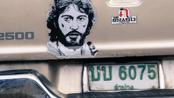 A sticker of Al Pacino as Serpico on the back of a pick-up truck in Thailand