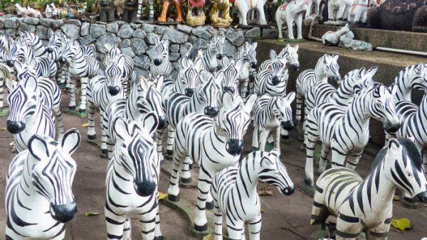 zebras at a roadside shrine in Thailand