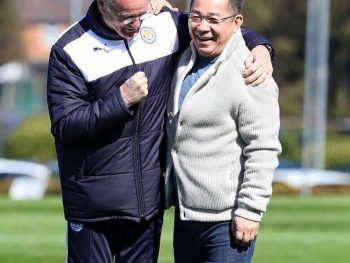 Leicester City FC chairman Vichai pictured with anger Claudio Ranieri