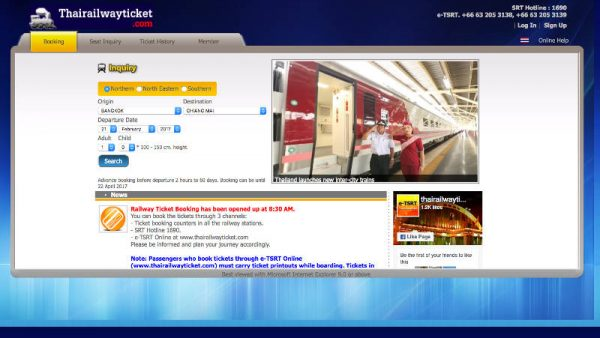 How to buy Thai train tickets online